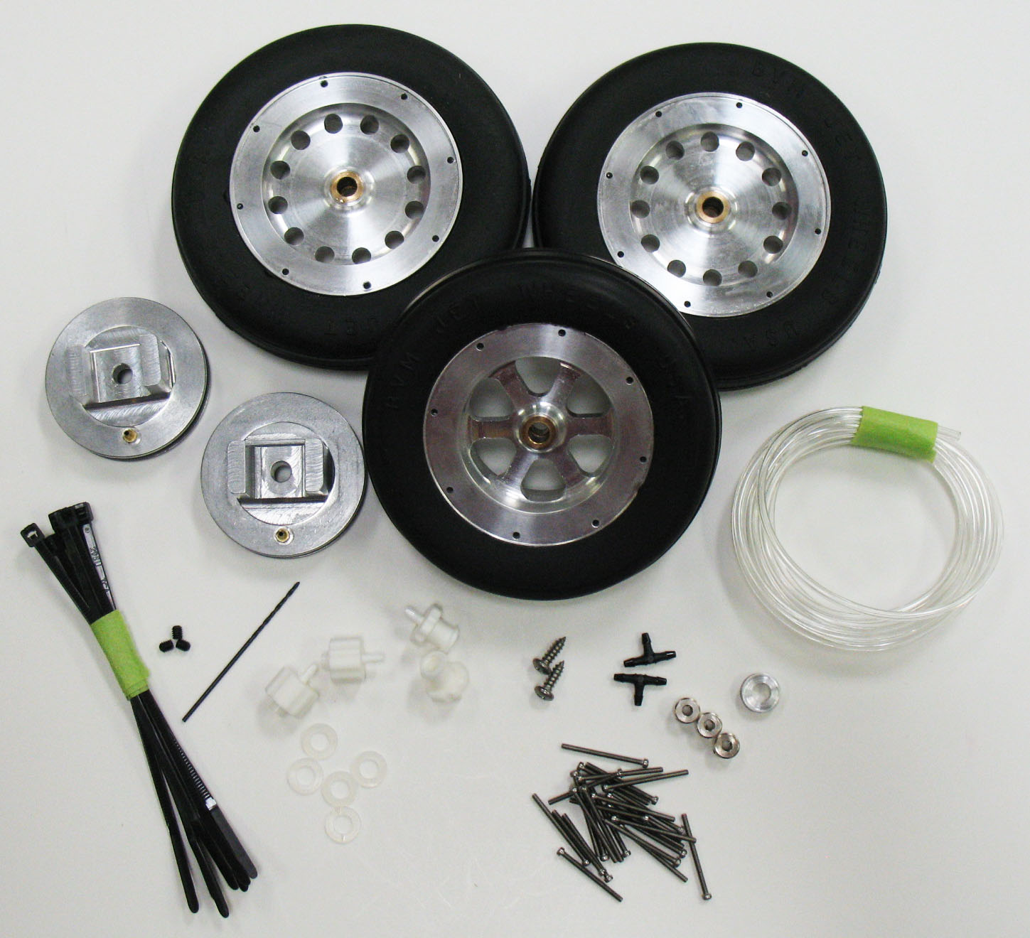 "3-1/2"" Mains, 3-1/4"" Nose Wheels and Brakes"